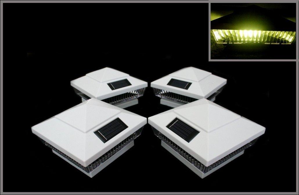2-pack Garden Plastic Fence Post Cap Solar Lights, White Cap, Vertical-Lined Clear Lens, Warm White LED light. Fit on 5x5 Vinyl/PVC or Wood Posts by Atlantic SolarsTM