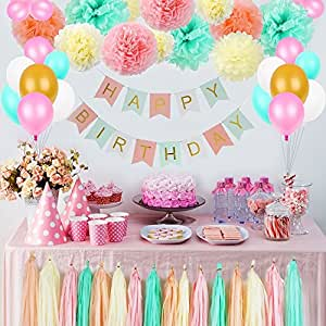 Litaus Tri-Color Birthday Decorations, Party Decorations Supplies, Happy Birthday Banner, Party Balloons, Paper Flowers for Kids Girls Birthday, 1st Birthday Girl Decorations, Birthday Party Supplies
