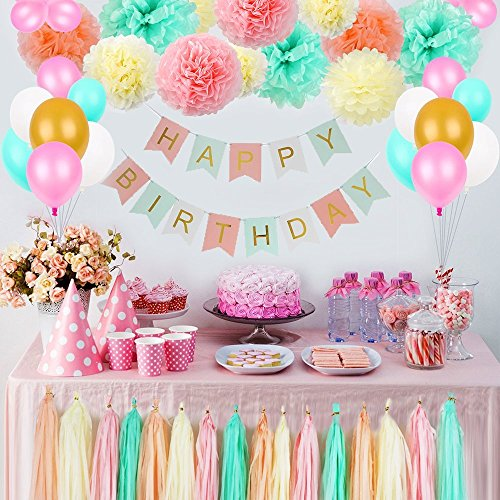 LITAUS Tri-Color Birthday Decorations, Party Decorations Supplies, Happy Birthday Banner, Party Balloons, Paper Flowers for Kids Girls Birthday, 1st Birthday Girl Decorations, Birthday Party Supplies -