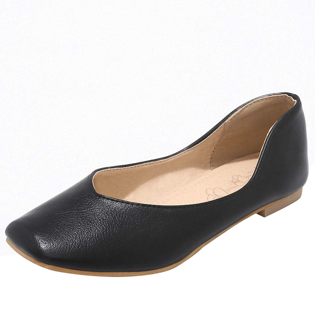 Eithy Women Candy Ballerina Ballet Flats Square Toe Casual Slip-on Comfort Walking Shoes Black US 11