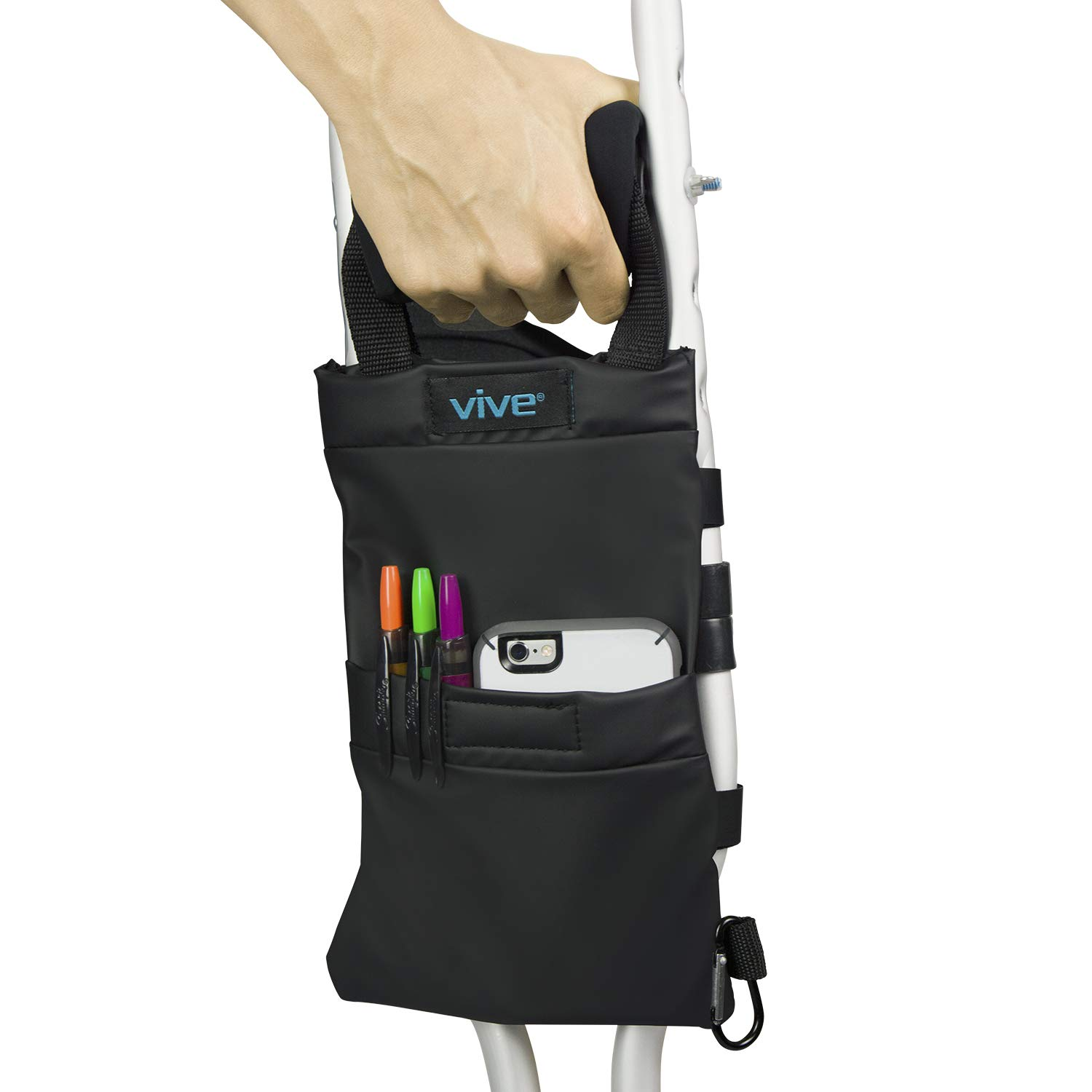 Vive Crutch Bag - Pouch with Foam Hand Grip Pads - Tote for Broken Leg Crutches with Storage Pockets - Ergonomic, Orthopedic, Lightweight Carry On - Medical Forearm Crutch Accessories for Women, Men