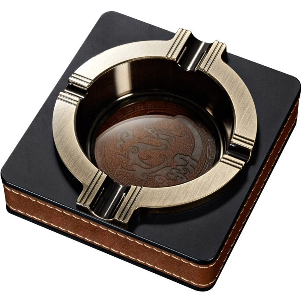 Keeword Luxurious Metal Ashtray Leather Ashtrays Outdoor Ash Tray Patio Home Table Modern Deco Articles Gift Christmas (A1 Bronze) Googday