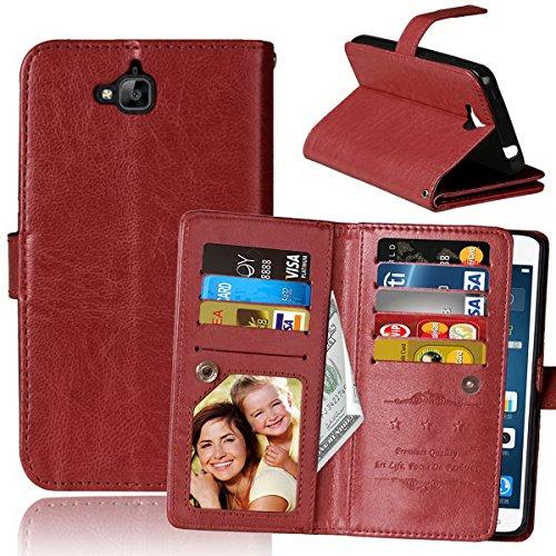Huawei Y6 PRO 5.0Inch cartera de la caja, cuero de la PU cierre magnético Flip Stand caso de la cubierta de la cartera con 9 tarjeta 4