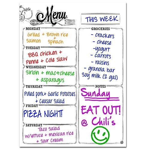 Monday Through Saturday Weekly Magnetic Dry Erase Refrigerator Whiteboard Menu Planner | Vertical Portrait Design | Use as Planner Calendar, Meal, Grocery, To Do or Chore List