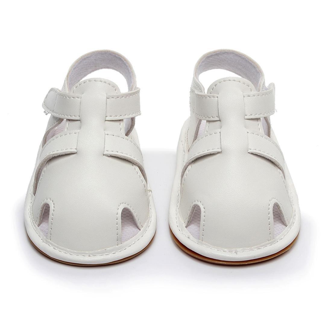 yjydada幼児ベビーボーイズガールズレザーローマソール靴夏サンダル最初Walkers B07DHFL8MS  ホワイト 12