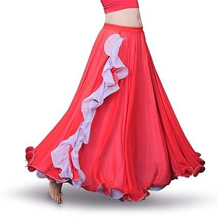 ROYAL SMEELA Falda la Danza del Vientre Mujer Faldas largas chifón con Volantes Falda Larga Big Swing Disfraz de Danza Traje Danza del Vientre Mujer ...
