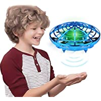 GEYUEYA Home Hand Operated Drones for Kids Adults Helicopter with 360° Rotating and Shinning LED Lights, Easy Indoor Flying Ball Hands Boys and Girls Toys (Blue)