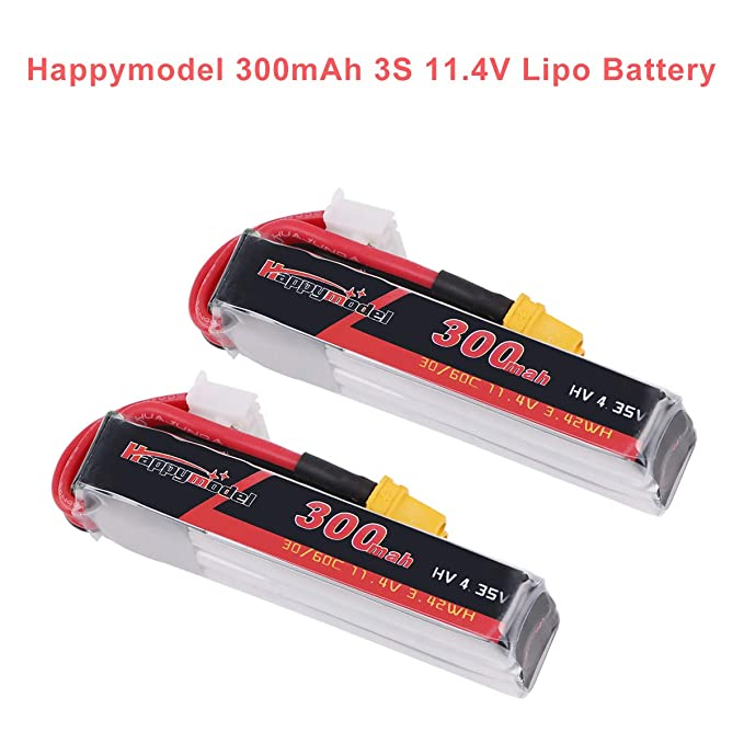 2pcs Happymodel 3S Lipo 11.4V 300mAh Lipo Batería HV 30C/60C con Conector XT30 para FPV Racing Drone como Mobula7 HD (No para 10000KV versión)