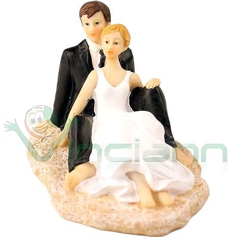 Matrimonio Spiaggia Decorazioni : Cake topper sposi in spiaggia sposini mare decorazione torta
