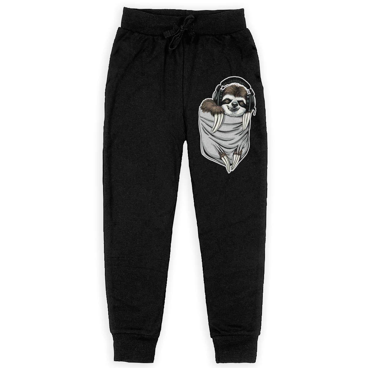 Bing4Bing Pocket Sloth with Music Headphones Boys Cotton Sweatpants Comfortable Joggers Pants Active Pants
