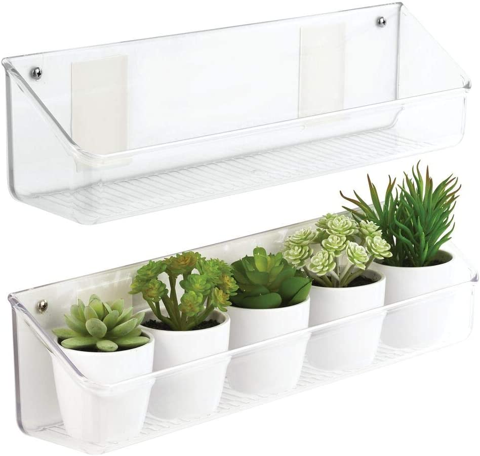 mDesign Wall Mount Plastic Home Storage Organizer Holder Tray Basket with Self-Adhesive Tape - Hanging Bin Shelf for Walls/Doors in Entryway, Mudroom, Bedroom, Bathroom, Office, Laundry, 2 Pack, Clear