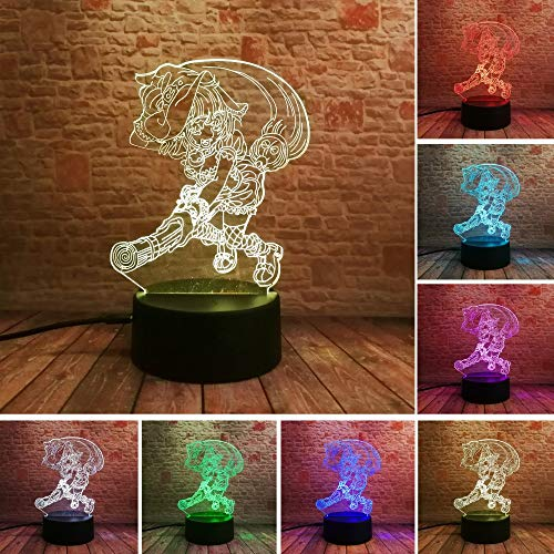 CJRSAM 3D Night Light 3DNight Light Anime Cartoon Magic Broom Witcher Magician Master Illusion 7 Color Gradient Child Girls Baby Xmas Toys Gifts