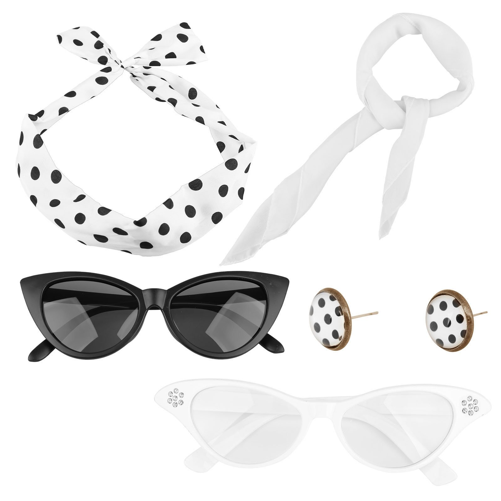 Spooktacular 50's Costume Accessories Set Scarf Eye Glasses Headband Earrings