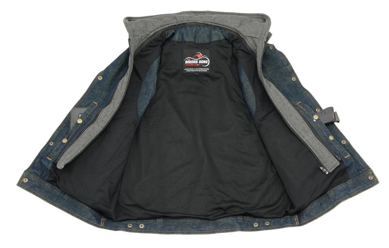 Men's Denim Vest | Removable Hoodie, Concealed Gun Pockets, Shirt Collar | Rustic and Casual Blue Jean Biker Vest (Blue, 7X-Large)