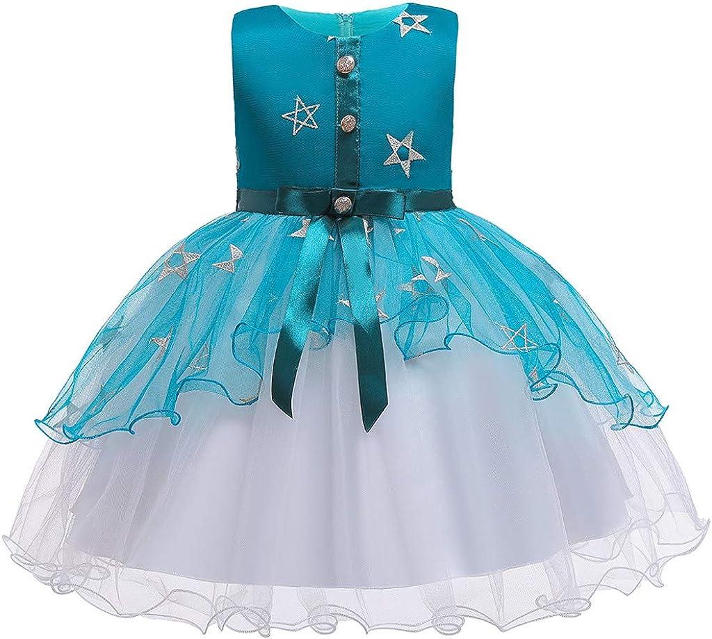 2-10 Ans Robe de Princesse pour Enfant sans Manches en Maille /étoiles,BZLine