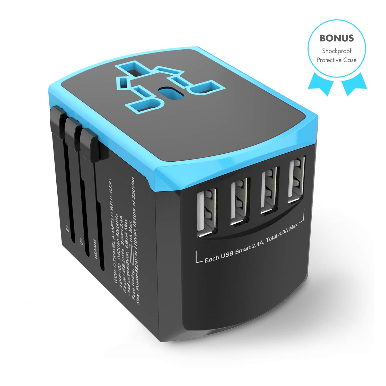 Universal Travel Adapter, All-in-one International Power Plugs with High Speed 2.4A 4 USB Wall Charging Ports for US, UK, EU, AU, Asia Covers 200+Countries