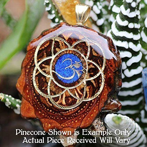 Glowing Crushed Lapis with Seed of Life + Om Third Eye Pinecone Pendant by Third Eye Pinecones