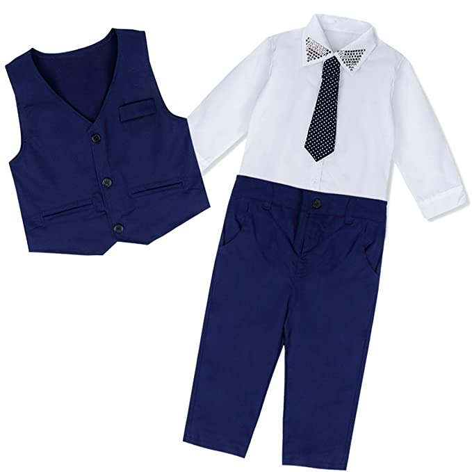 Freebily Baby Boy Wedding Formal Suit Bowtie Gentleman T-Shirt Waistcoat Tuxedo Outfits White&Blue 2