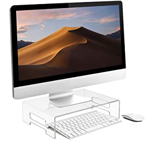 Sorbus Acrylic Monitor Riser, Laptop, Computer Desktop Stand, Clear Desk Display Tray Shelf with Carry Handles, Jewelry, Laptop Monitor, Showcase Fixtures, Food Service Display Risers (Medium)