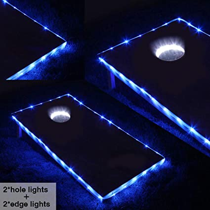 LED Cornhole Board Lights BLUE Accessory Outdoor Battery Powered Game Party