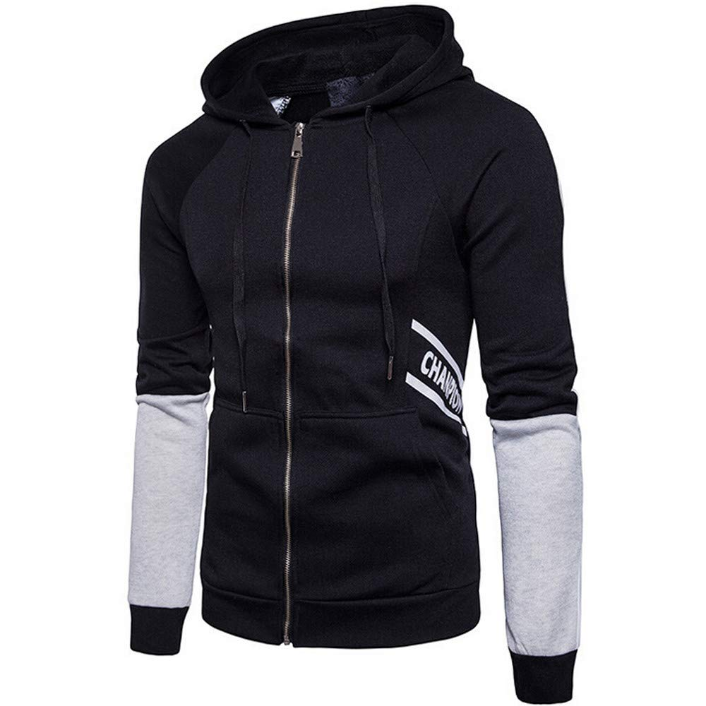 Clearance Sale,WUAI Mens Athletic Jackets Outdoors Hooded Sweatshirt Letter Printed Sportswear Casual Outwear(Black,US Size L = Tag XL)