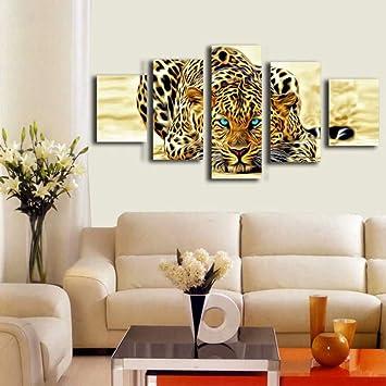 XIANRENGE Impression De Toile De 5 Pièces Guépard Affiche HD Peinture  Moderne Image Animale Résumé L