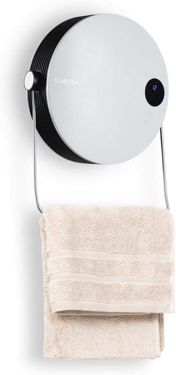 Klarstein Hot Spot Pebble - Calefactor de aire eléctrico, Ventilador, Potencia 2000 W, Hasta 40 m², PTC resistencia cerámica, Tumbado o montado en la pared, Barra para toallas, Termostato, Blanco