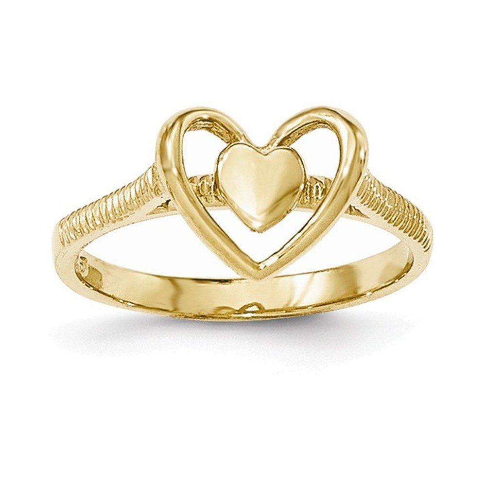 Jewelry Adviser Rings 14K Gold Polished Textured Heart w//Heart Frame Ring