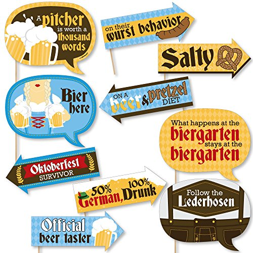 Funny Oktoberfest - German Beer Festival Photo Booth Props Kit - 10 Piece -
