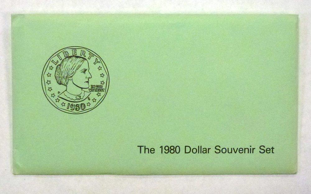 P 1980 SBA  DOLLAR SOUVENIR SET-SBA-UNCIRULATED  DOLLARS D and S MINTS
