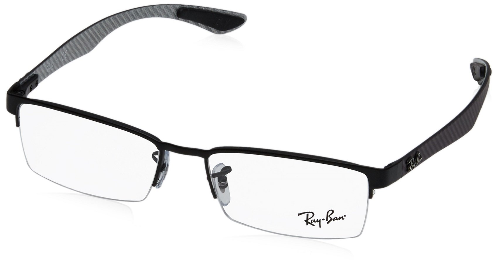 Ray-Ban Men's 0rx8412 No Polarization Rectangular Prescription Eyewear Frame, Matte Black, 52 mm