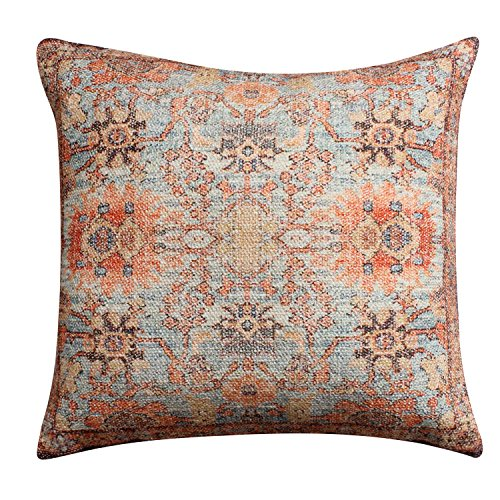 ThymeHome Annora Royal Hand Woven Dhurri Pillow-100% Cotton Decorative Accent Indoor Pillow 18x18 inch ()