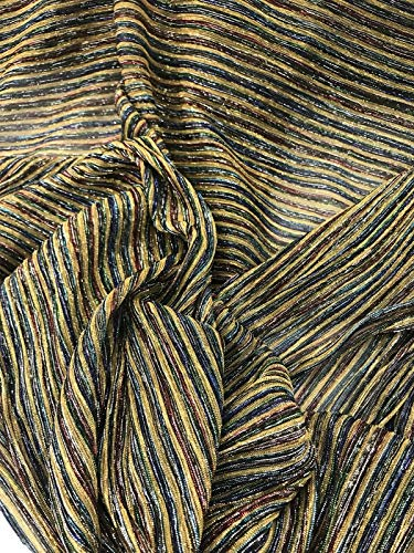 BLACK/SILVER/GOLD PLEATED METALLIC TREAD KNITTED SHEER FABRIC-SOLD BY THE ()