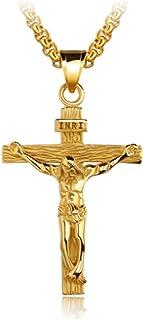 KnSam 18k Gold Vergoldet Kreuz Anhänger Halskette für Herren Damen mit 55cm Popcorn-Kette Silber Gold [Neuheit Halsschmuck]