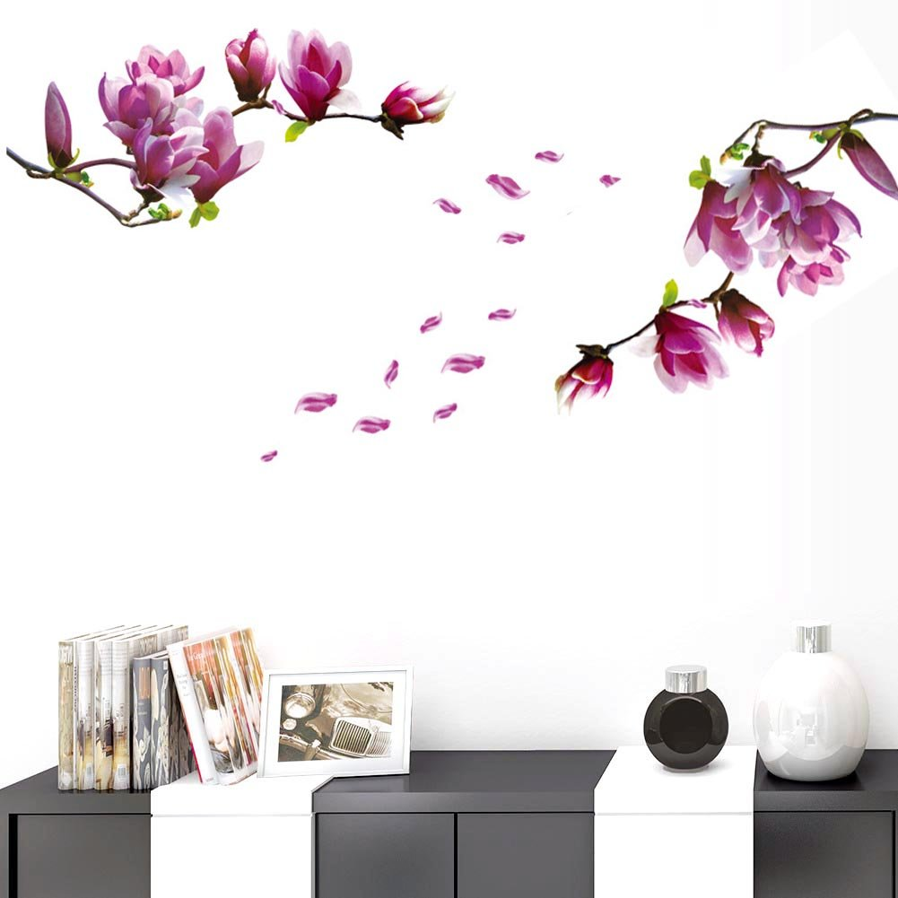 BIBITIME 2 Sheets Purple Magnolia Vinyl Sticker Flower Wall Decal Tree Branches Bud Petal PVC Home Decor Art Murals for Living Room Couple Bedroom Nursery Children Kids Room Decor