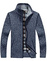 Men's Classic Fleece Zip up Cardigan Collar Sweater