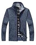 Vcansion Men's Loose Wool Zip up Cardigan Pullover Sweater Blue Grey US XL/Asia 2XL