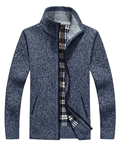 Vcansion Men's Loose Wool Zip up Cardigan Pullover Sweater Blue Grey US XL/Asia 2XL by Vcansion