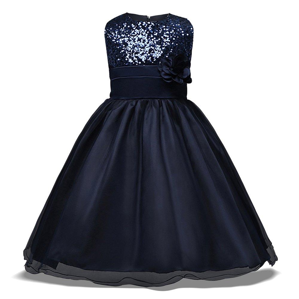 FORTUN New Flower Girl Dress Sleeveless Dress Lace Princess Dress(Dark Blue 120cm(3-4 Years)