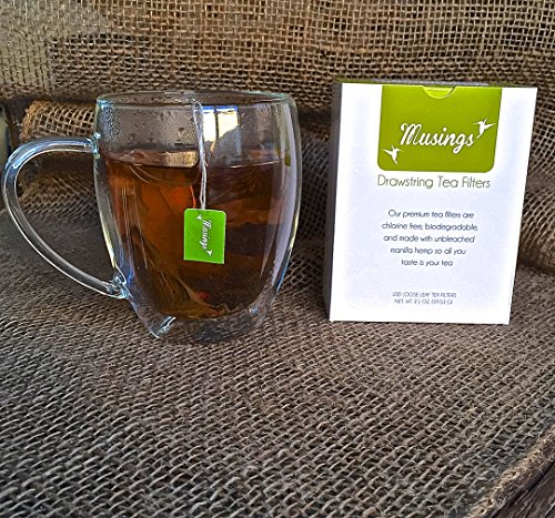 Premium Drawstring Tea Bags For Loose Leaf, Disposable Filters, Non GMO, Strong, No Mess Tag, All Natural Infuser, Compostable, Unbleached Manilla Hemp Paper by Musings Tea (Image #8)