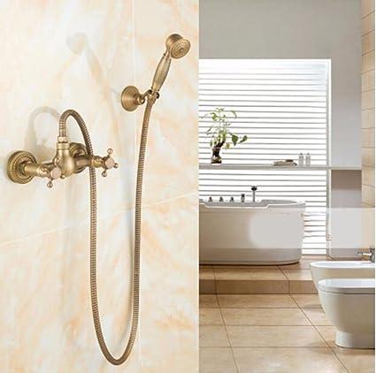 Amazon.com: SJQKA Shower Head All Bronze Antique Showers, Telephone ...