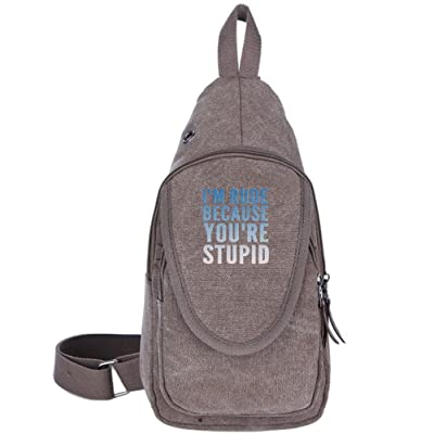 lovely I'm Rude Because You're Stupid Fashion Men's Bosom Bag Cross Body New Style Men Canvas Chest Bags