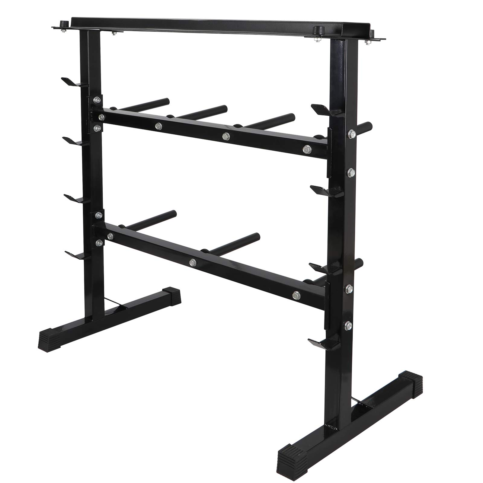 F2C 2 Tier 40'' Barbell Dumbbell Weight Plate Rack Weights Storage Organizer Stand Bench Base for Home Gym