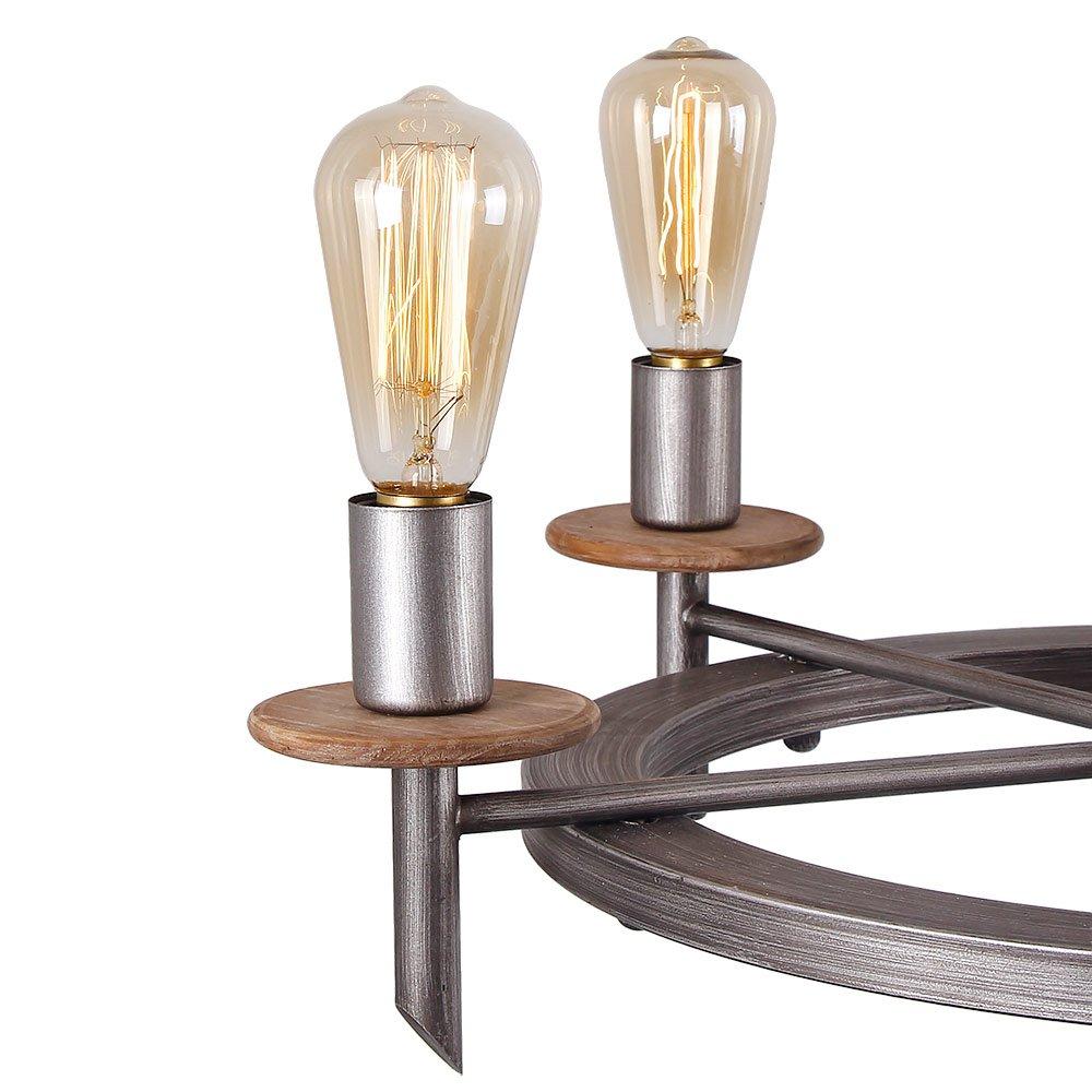 Eumyviv C0020 5-Lights Annular Metal Wood Chandelier Retro Rustic Industrial Pendant Light Edison Vintage Decorative Light Fixtures Ceiling Light Luminaire by Eumyviv (Image #4)