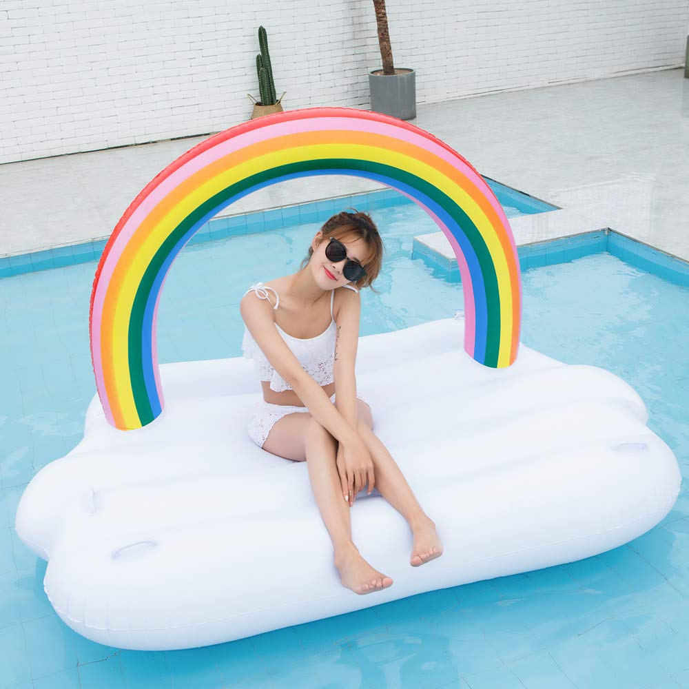 TechCode Inflatable Pool Float, Multi-Purpose Summer Inflatable Bad Portable Pool Float Mattress Sunbathe Comfort Lounge Bad Beach Mat Water Party Inflatable Float Holiday Toy,83x57x53 inch