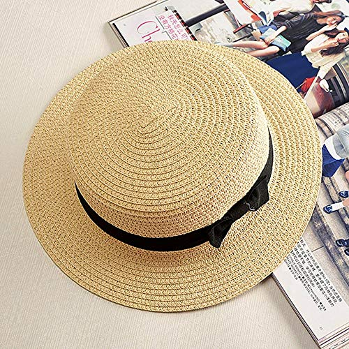 Jeremy Stone Summer Hat Adult Female British Retro Bow Princess Curling Straw Hat Dome Flat Roof Beach Sunscreen Hat Beige ()
