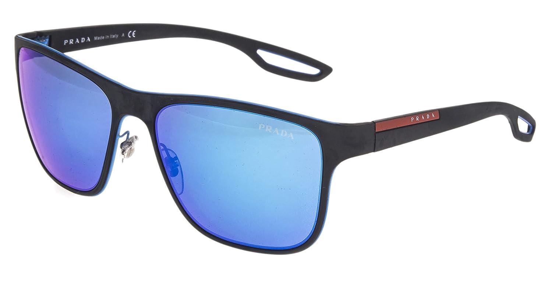 e27f065c3fb Amazon.com  PRADA LINEA ROSSA LJ SILVER 56Q Matte Black Azure Mirrored  Sunglasses  Clothing