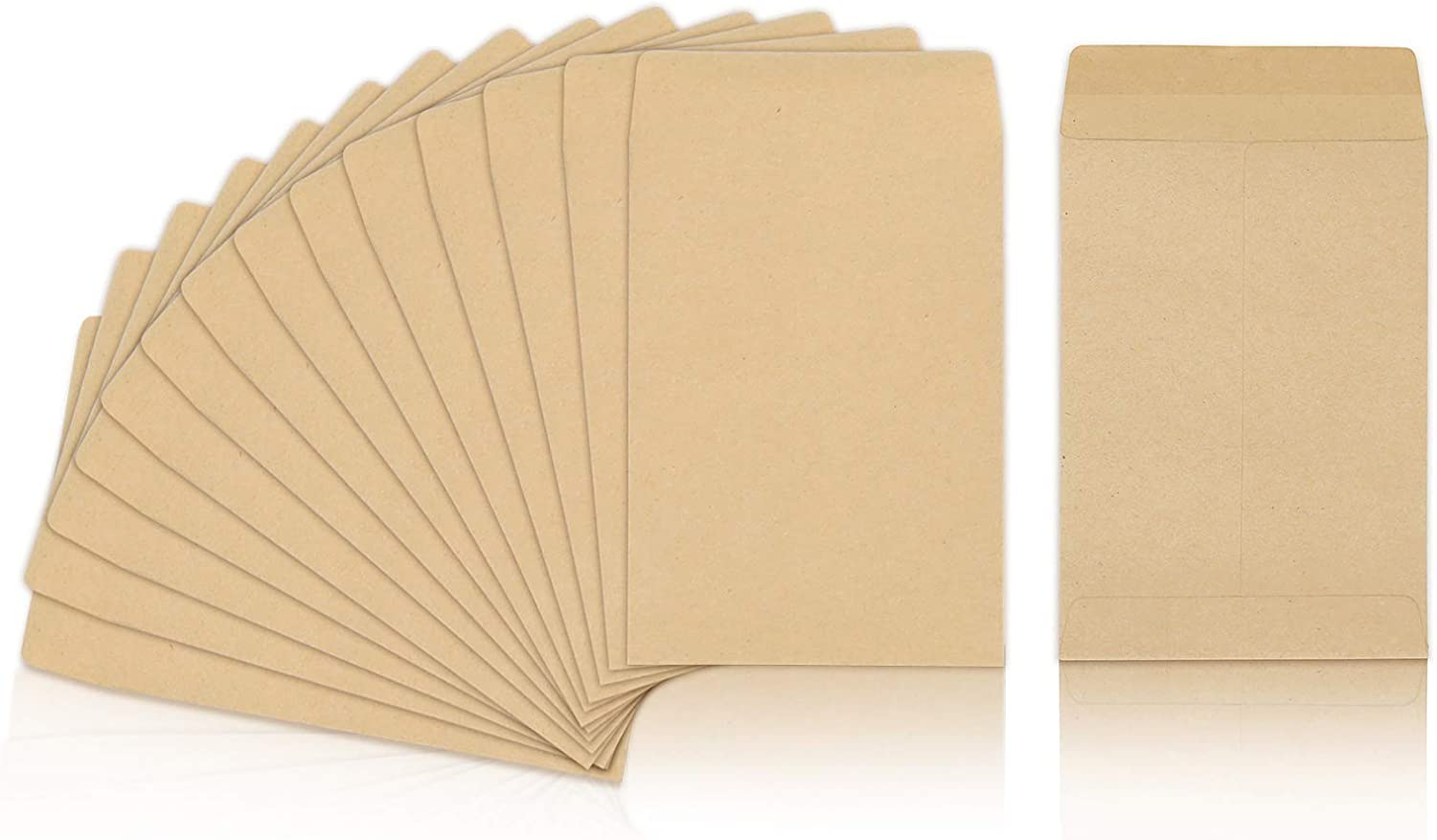 100 Packs Coin Seed Envelopes Kraft Small Parts Packets Envelopes Self Sealing Stamps Storage for Home, Office, Garden or Wedding Use (Kraft, 2.25×3.5 Inches)