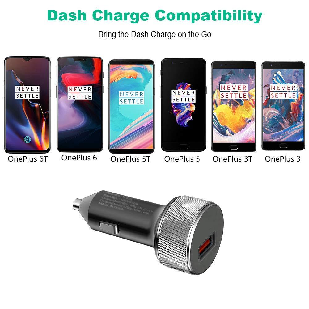 iMangoo Dash Auto Ladeger/ät Dash Charge Schneller USB Autoladeadapter Kfz Ladeger/ät Adapter und 2M Nylon Dash Typ C Kabel Kompatibel mit Oneplus 7 Oneplus 7 Pro OnePlus 6T 6 5 5T 3 3T Bullet Wireless