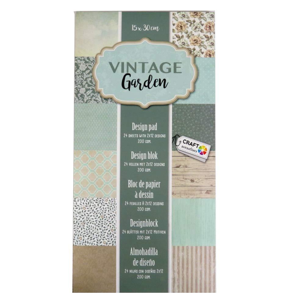 vintage Jardin 12/motifs Craft Sensations 15/cm x 30/cm Motif imprim/é papier Pad 200/g//m/² 24/feuilles
